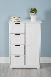 Tallboy Cabinet Double Door Wall Mounted White Storage - Furniture Maxi