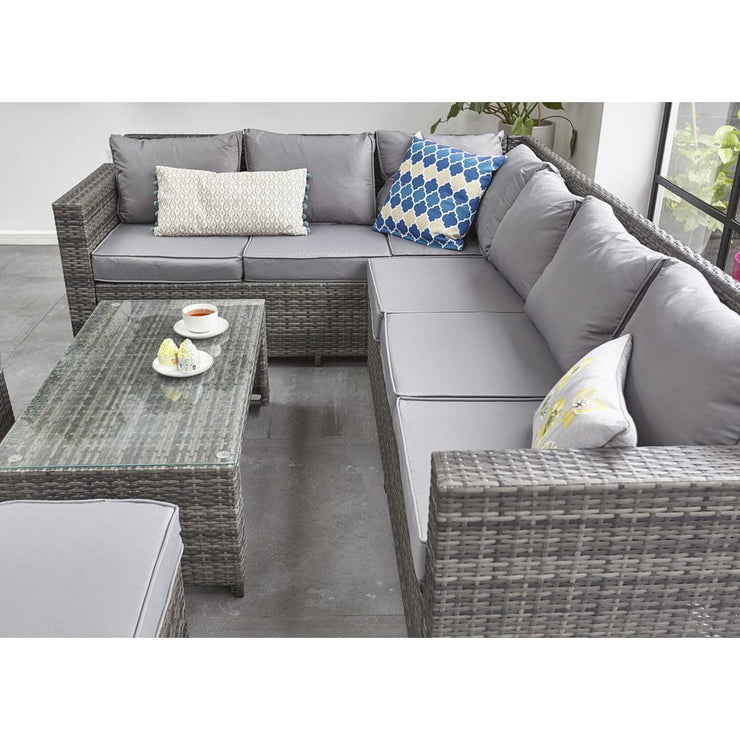 Barcelona Grey Modular 8 Seater Rattan Corner Sofa Set, Garden Furniture, Furniture Maxi, Furniture Maxi