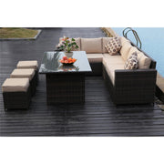 Barcelona 9 Seater Rattan Garden Furniture Dining Set In Brown - Furniture Maxi