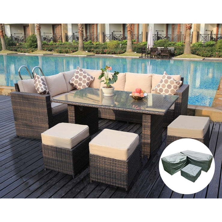 Barcelona 9 Seater Rattan Garden Furniture Dining Set In Brown, Garden Furniture, Furniture Maxi, Furniture Maxi