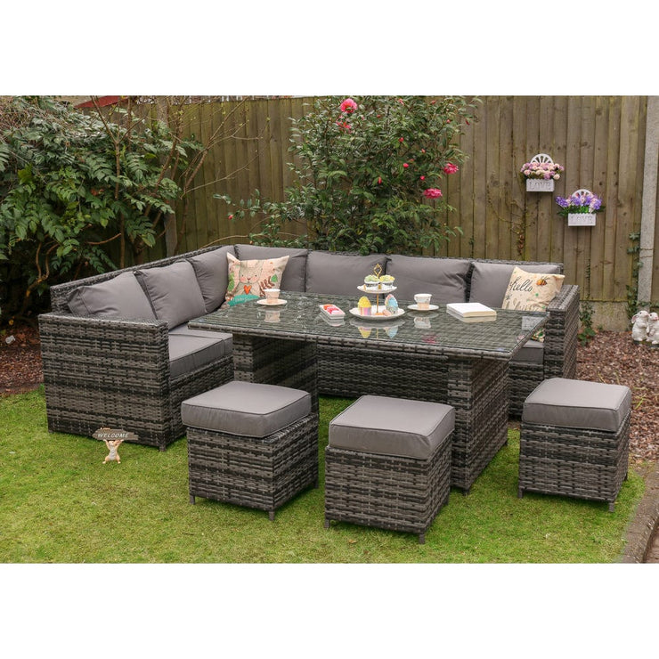 AREBOS Poly Rattan Garden Furniture Set of 9 Dining Furniture Chairs