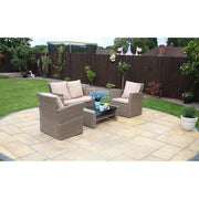 Rosen 4 Seater Rattan Garden Furniture Set In Sand - Furniture Maxi