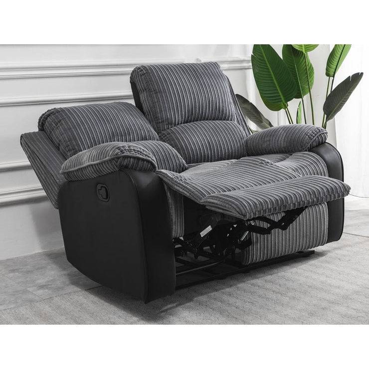 Boston Grey Plush Fabric 2 Seater Recliner - Furniture Maxi