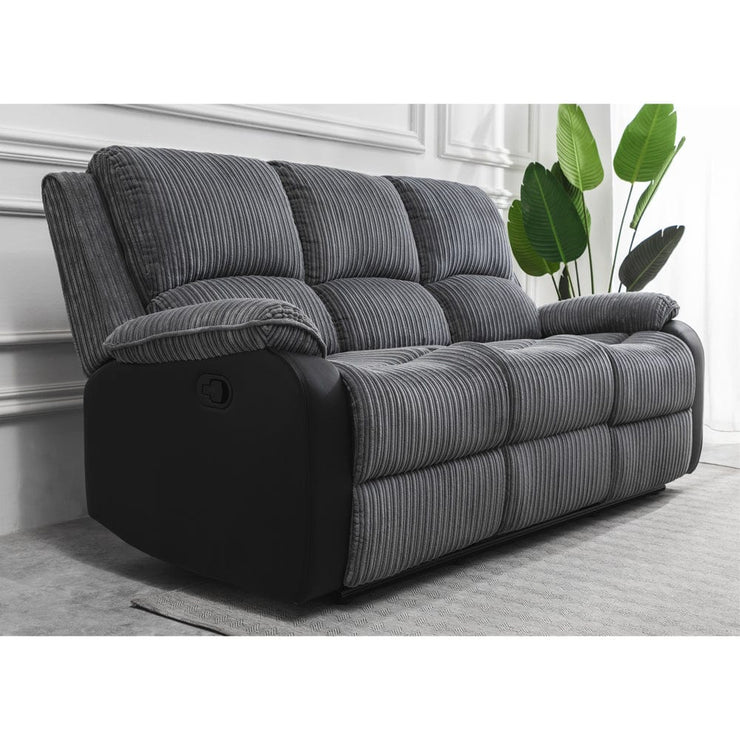Boston Grey Plush Fabric 3 Seater Recliner - Furniture Maxi