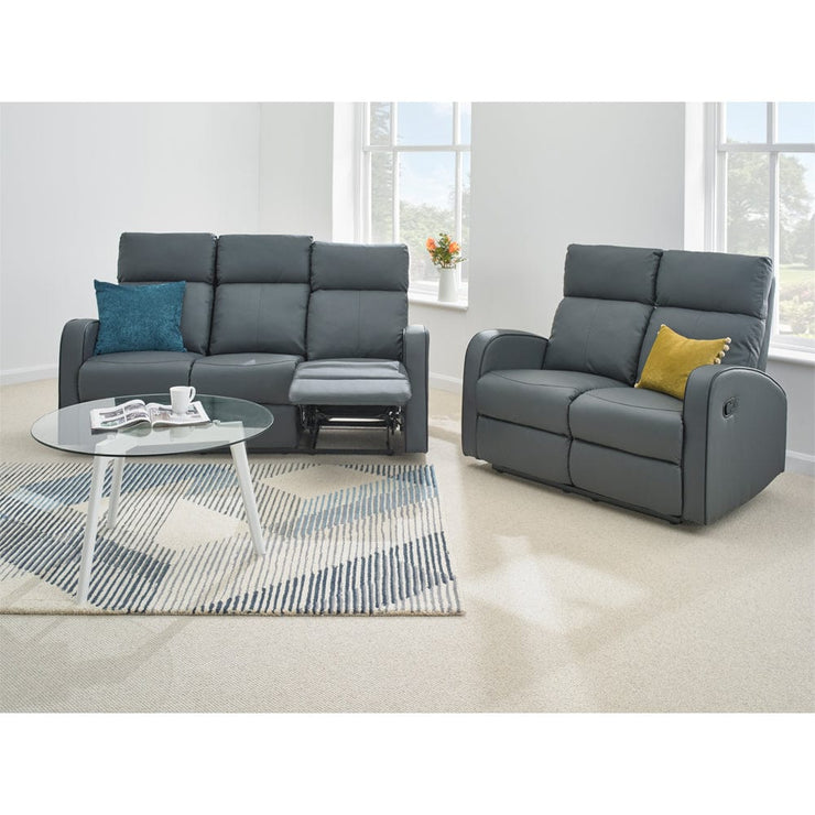 Boston 3+2 Dark Grey Leather Recliner Sofa Set - Furniture Maxi