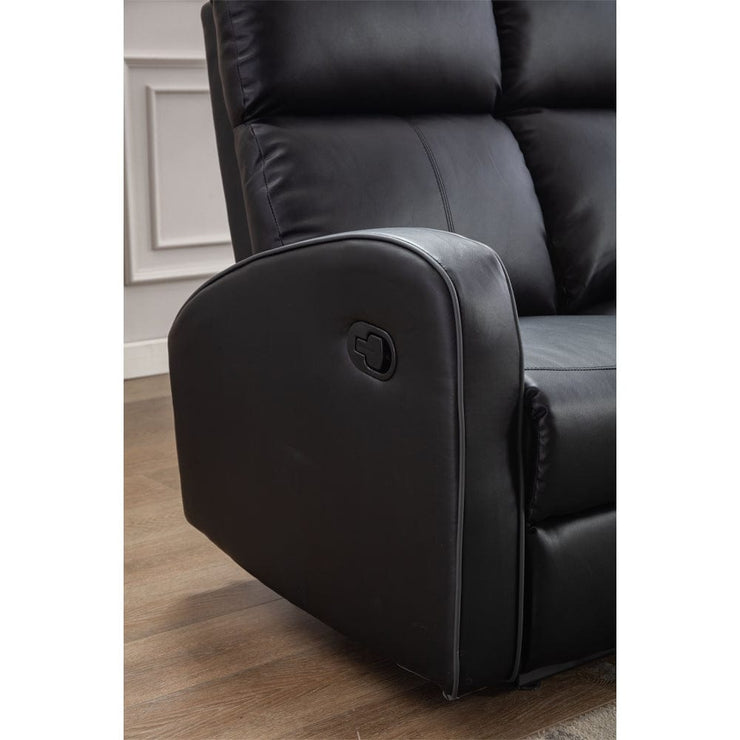 Boston Black Leather 2 Seater Recliner Sofa - Furniture Maxi