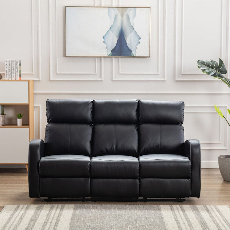 Boston Black Leather 3 Seater Recliner Sofa - Furniture Maxi