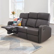 Boston Brown Leather 3 Seater Recliner Sofa - Furniture Maxi