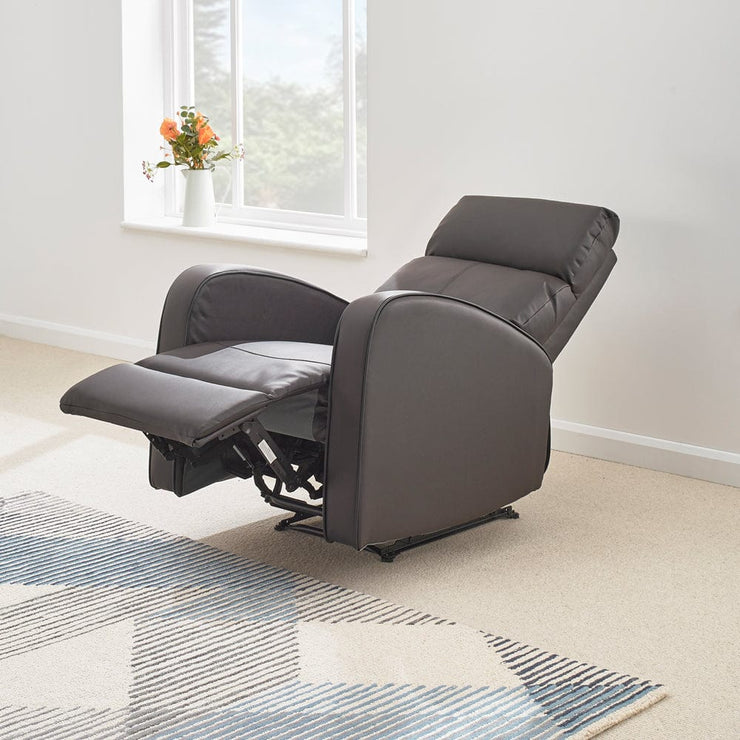 Boston Brown Leather Recliner Armchair - Furniture Maxi