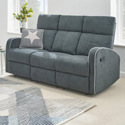 Boston Dark Grey Fabric Recliner 3 Seater Sofa - Furniture Maxi