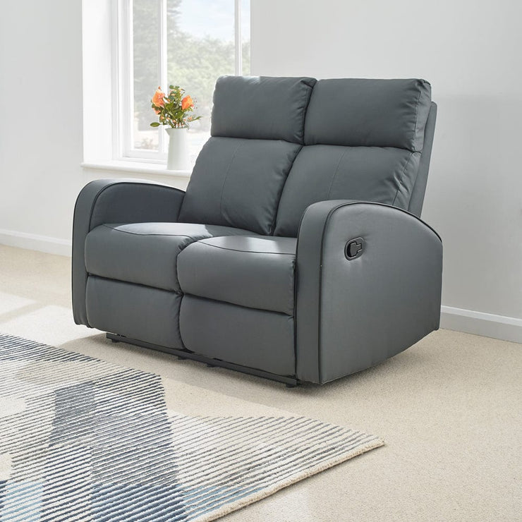 Boston Grey Leather 2 Seater Recliner Sofa - Furniture Maxi