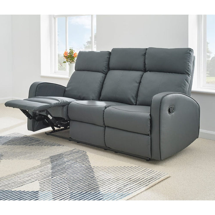 Boston Grey Leather 3 Seater Recliner Sofa - Furniture Maxi