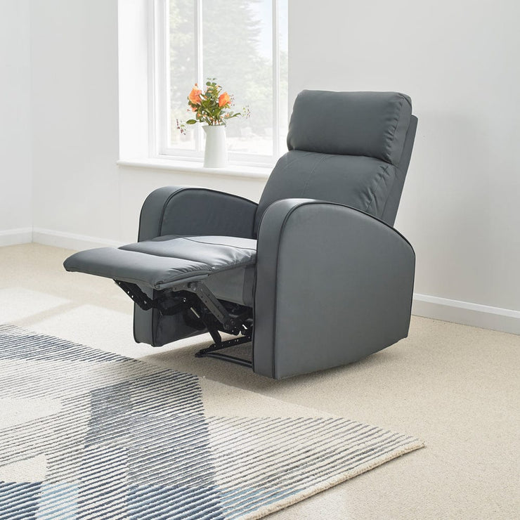 Boston Grey Leather Recliner Armchair - Furniture Maxi