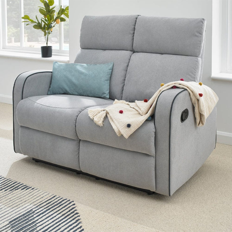 Boston Light Grey Fabric Recliner 2 Seater Sofa - Furniture Maxi