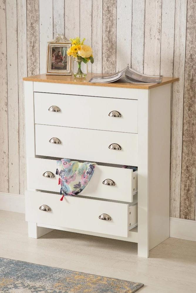 Heritage 4 Drawer Chest White Bedroom Furniture - Furniture Maxi