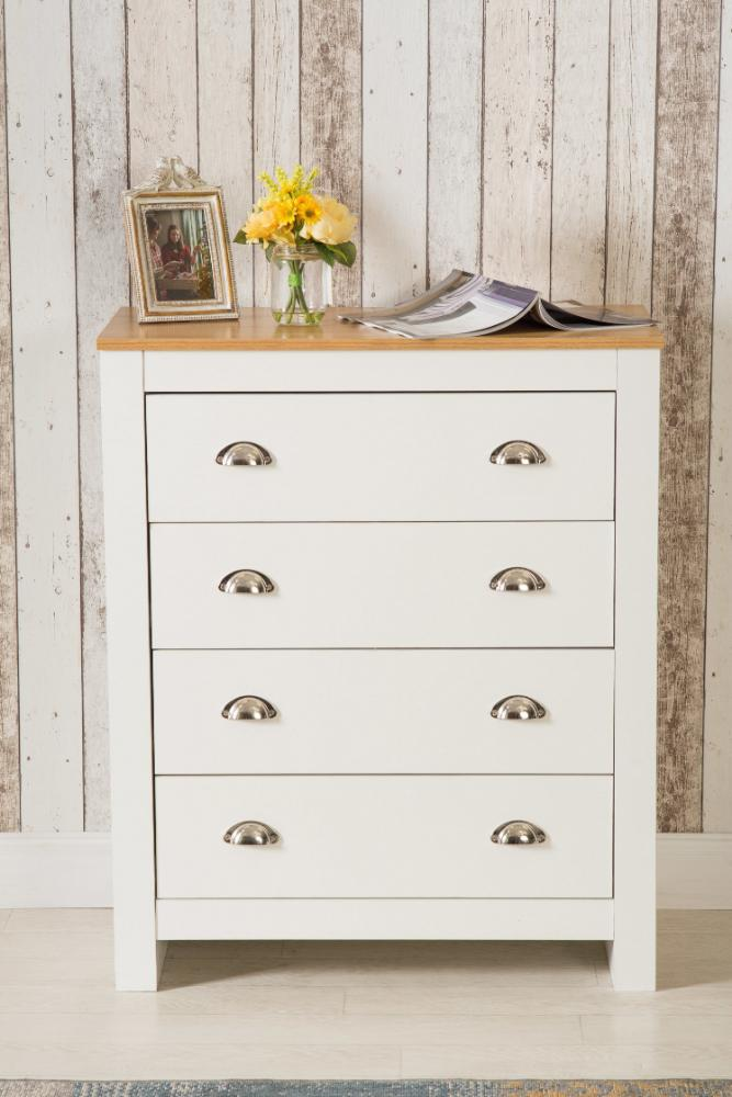 White Retro Country Style 4 Drawer Chest | Furniture Maxi