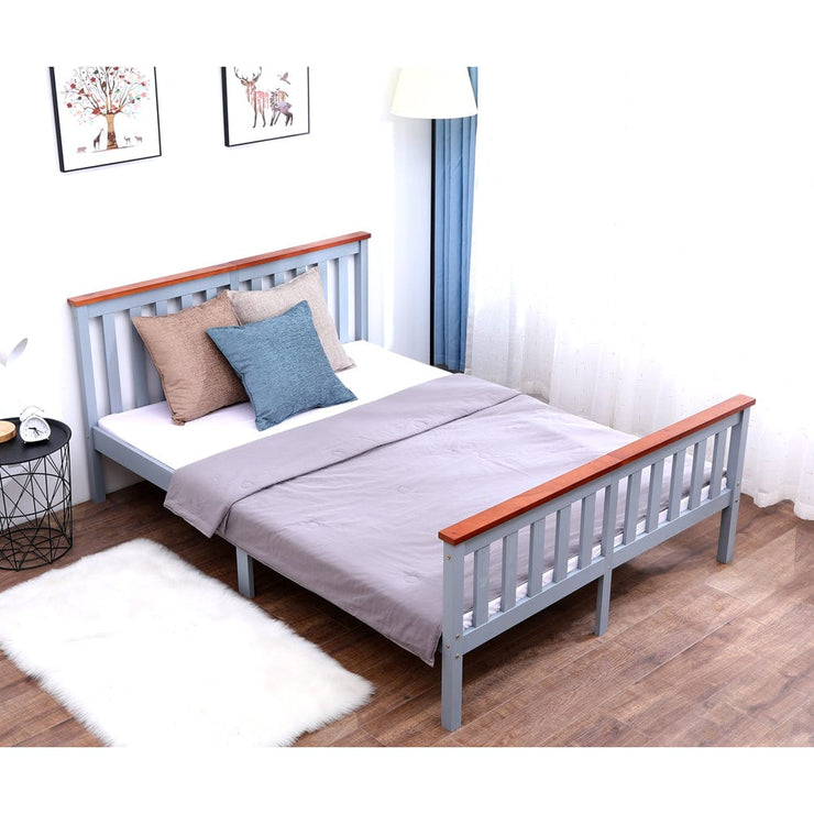 Classic Double Bed In Grey & Oak