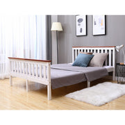 Classic Double Bed In White & Oak
