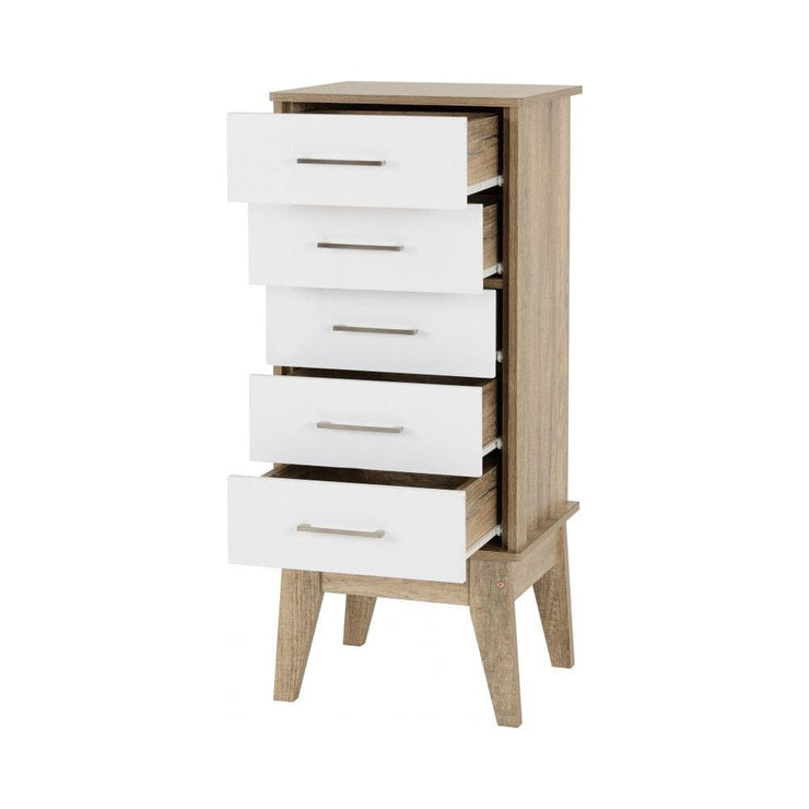 Dakota Tall 5 Drawer Chest Of Drawers In White and Oak, Bedroom Furniture, Furniture Maxi, Furniture Maxi