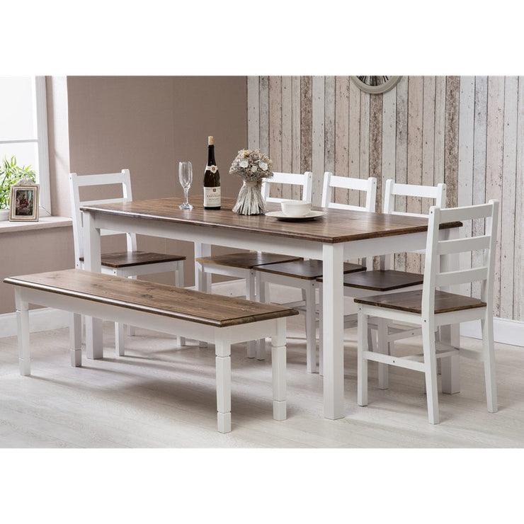 Epping Dark Pine Large Dining Table Set with 5 Chairs & Bench