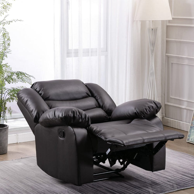 Fleetwood Bonded Leather Manual Recliner Armchair In Brown