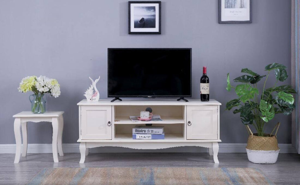 Estelle White TV Unit Stand - Furniture Maxi