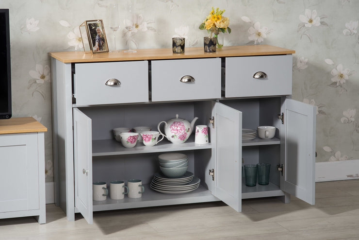 Heritage 3 Door 3 Drawer Grey Oak Side Board - Furniture Maxi