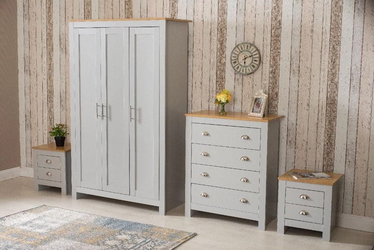 4 Piece Bedroom Heritage Set Grey and Oak - Furniture Maxi
