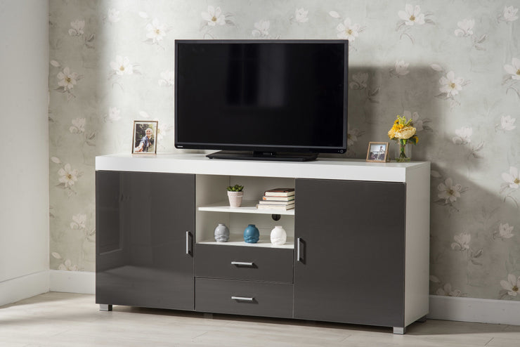 Large Grey and White TV Stand - Furniture Maxi