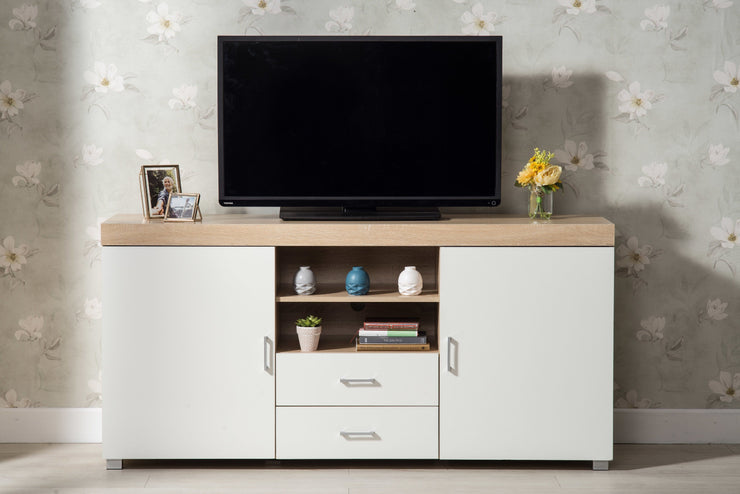 Hastings Large White and Oak TV Stand - Furniture Maxi