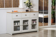 Heritage White and Oak 3 Door 3 Drawer Display Side Cabinet - Furniture Maxi