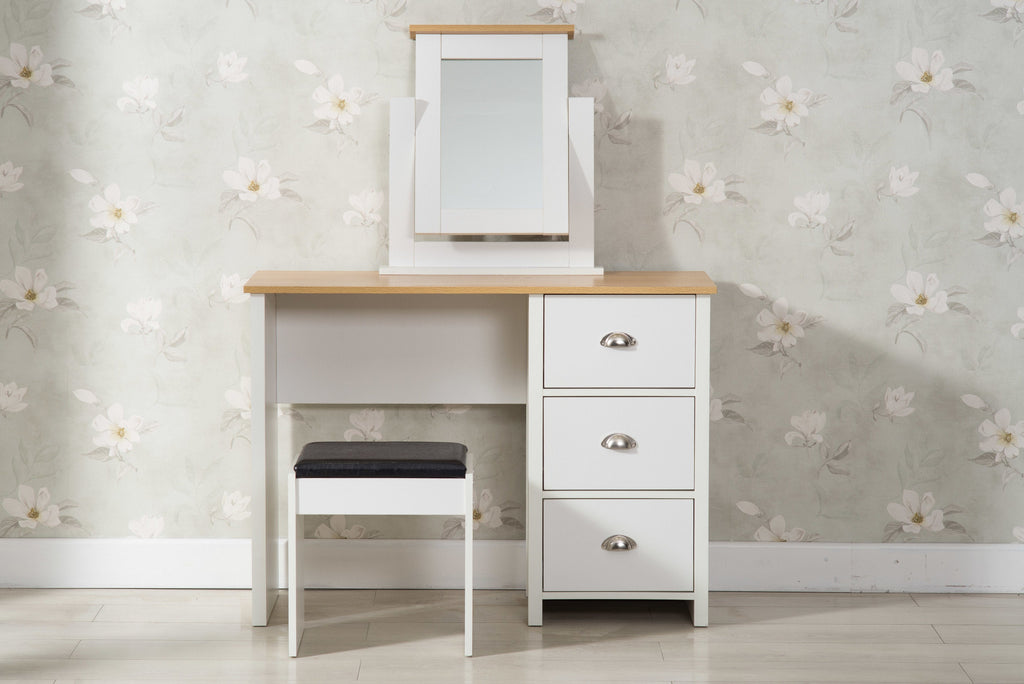 Heritage White and Oak Dressing Table and Stool - Furniture Maxi