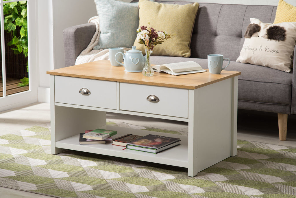 Heritage White and Oak Coffee Table Living Room Furniture Furniture Maxi