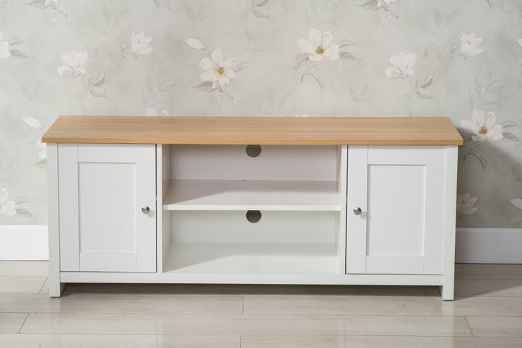 Heritage White and Oak TV Stand - Furniture Maxi