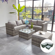 Vancouver 6 Seater Modular Rattan Sofa Set In Grey, Garden Furniture, Furniture Maxi, Furniture Maxi