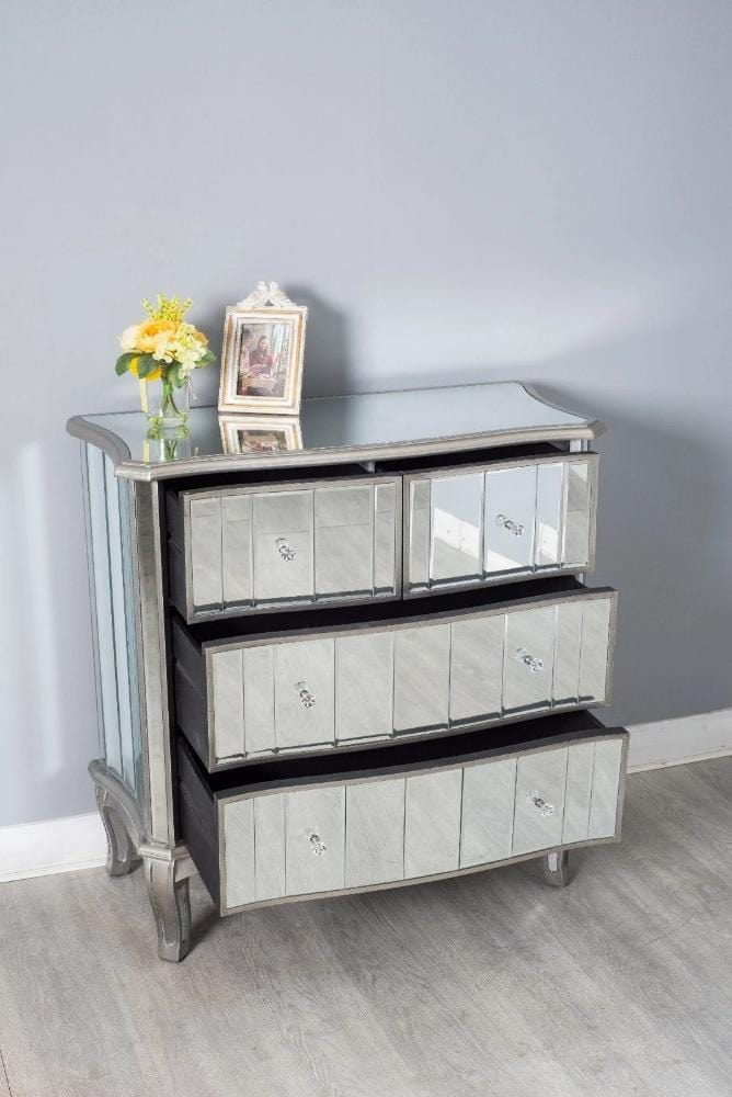 Glamour Mirrored 4 Drawer Chest, Bedroom Furniture, Furniture Maxi, Furniture Maxi