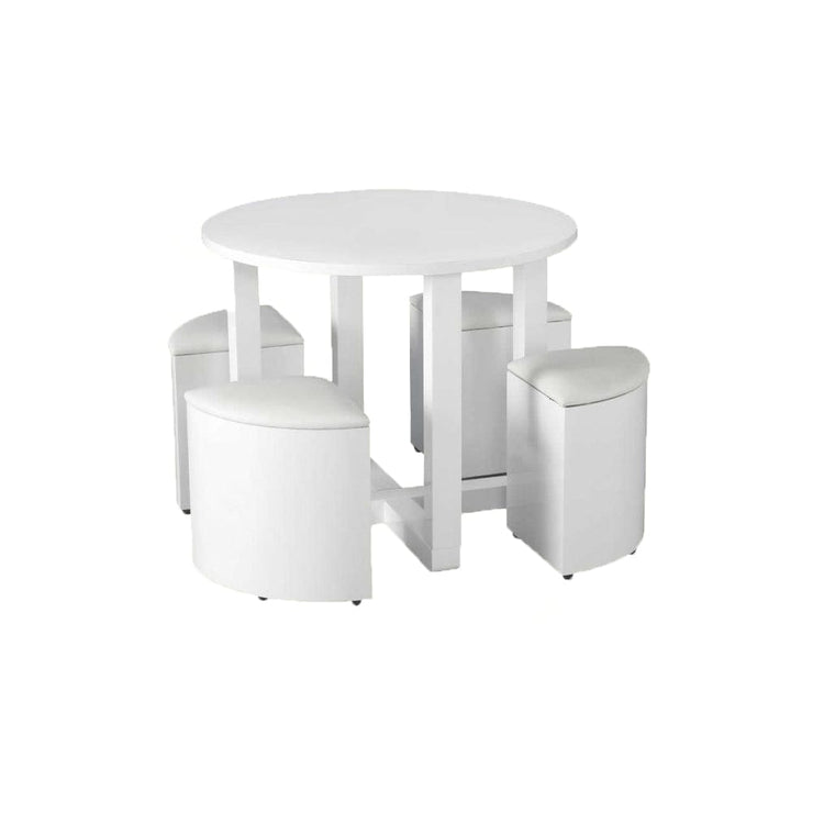 Hans Stowaway Dining Set In White Gloss - Furniture Maxi