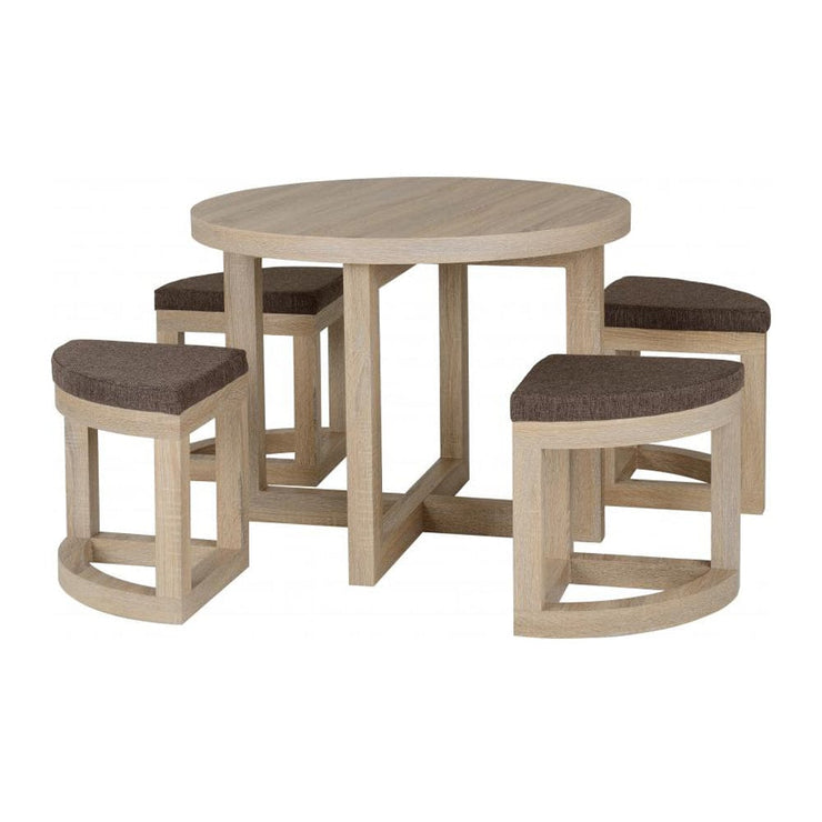 Hedda Folding Dining Set In Oak Effect - Furniture Maxi