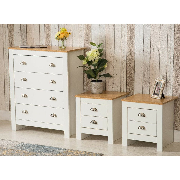 Heritage 3 Piece Bedroom Set In White Bedsides Chest - Furniture Maxi