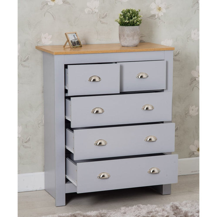 Heritage 3+2 Chest Of Drawers In Grey