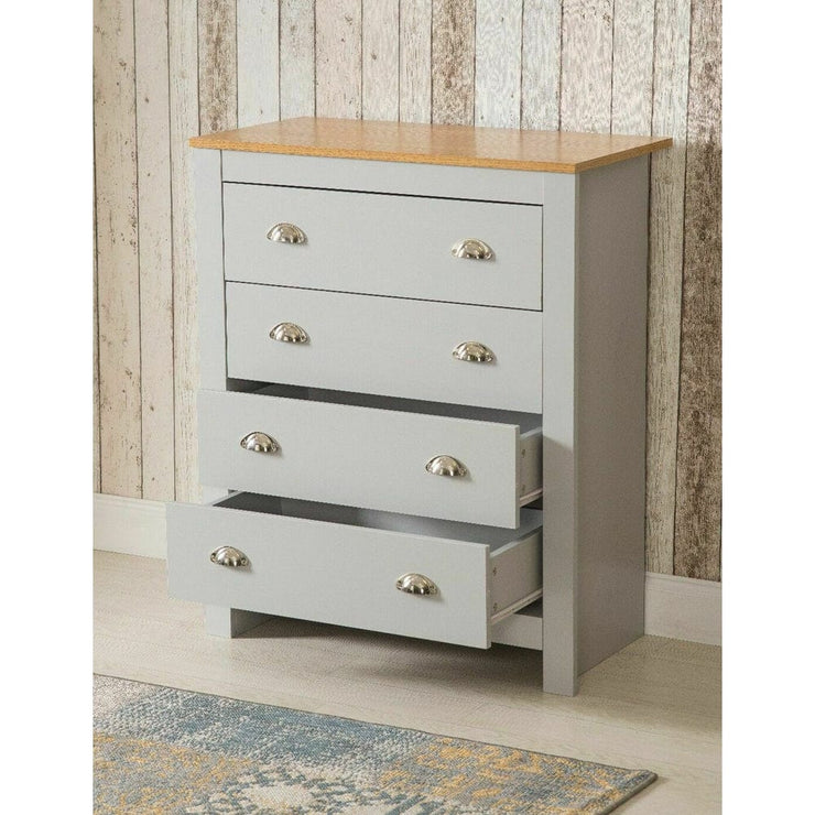 Heritage 4 Drawer Chest In Grey - Furniture Maxi