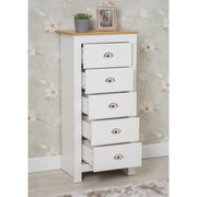 Heritage 5 Drawer Tall Chest In White and Oak