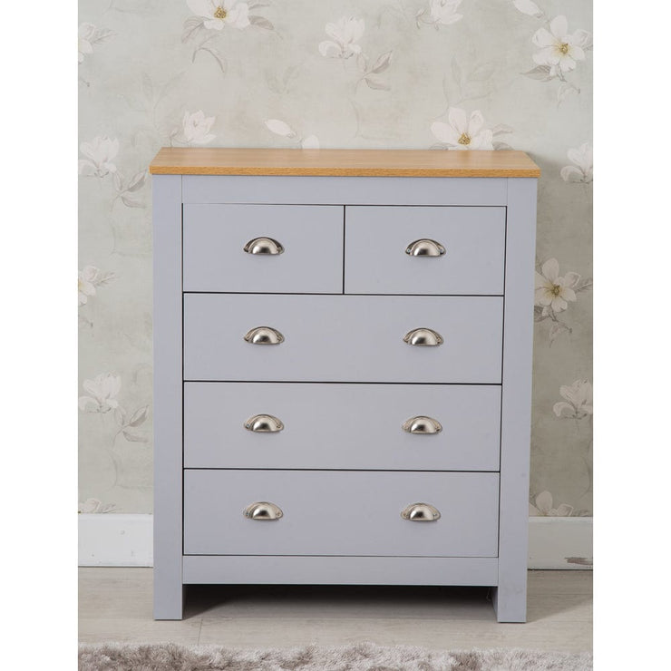 Heritage 6 Drawer Chest In Grey - Furniture Maxi