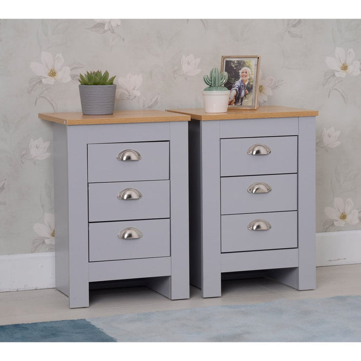 Heritage Set of 2 Grey Bedside Tables - Furniture Maxi