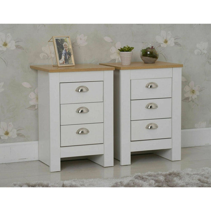 Heritage Set of 2 White Bedside Tables - Furniture Maxi
