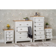 Heritage White Four Piece Bedroom Set Chests and Bedsides