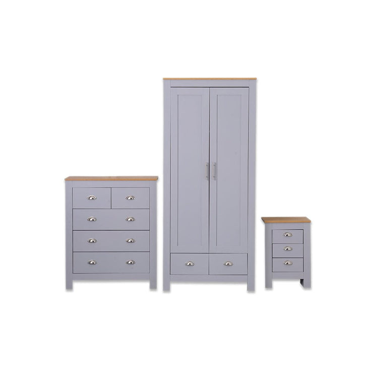 Heritage Set of Three Bedroom Piece with Grey and Oak Finish - Furniture Maxi