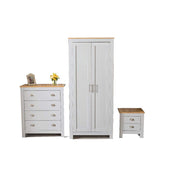 3 Piece Bedroom Heritage Set Grey and Oak - Furniture Maxi