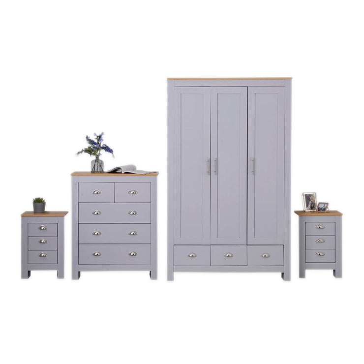 Heritage Set of Four Bedroom Piece with Grey and Oak Finish, Bedroom Furniture, Furniture Maxi, Furniture Maxi