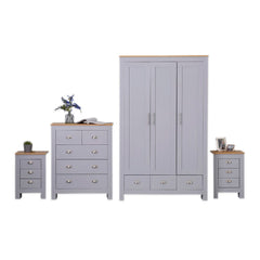 Heritage Set of Four Bedroom Piece with Grey and Oak Finish - Furniture Maxi